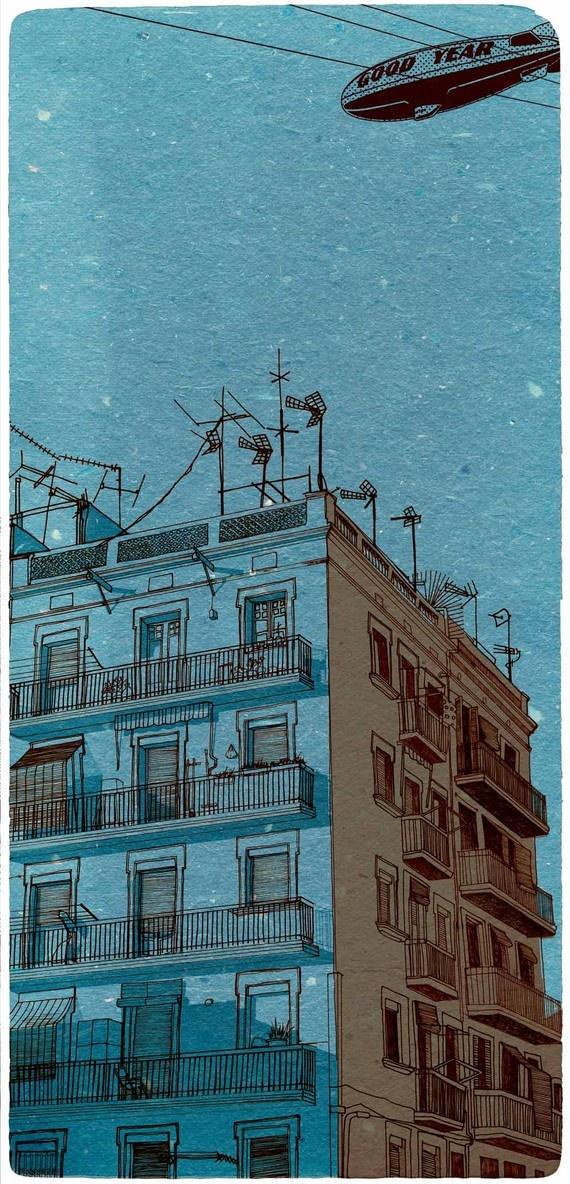 Drawn scenic city building Original blue 25+ 00 over