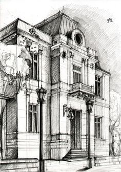 Drawn scenic city building Pin Study perspective Architectural on