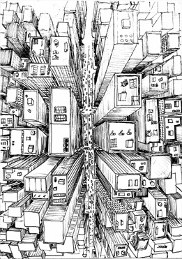 Drawn scenery city traffic And City drawing perspective 1