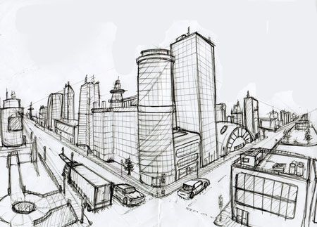Drawn scenic city traffic A Perspective Perspective Deviantart Actionjdjackson