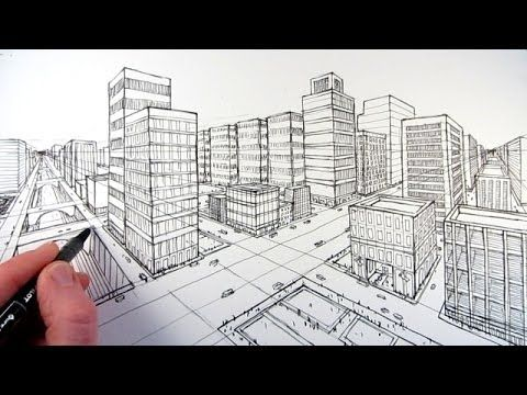 Drawn scenery city traffic Drawing Pinterest best Point Perspective