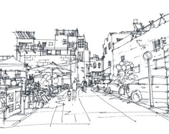 Drawn scenery cityscape Bazaar Cityscape urban sketch Old