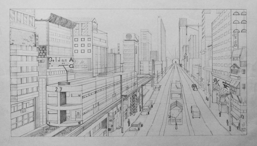 Drawn scenic cityscape On Perspective cityscape by hahn719