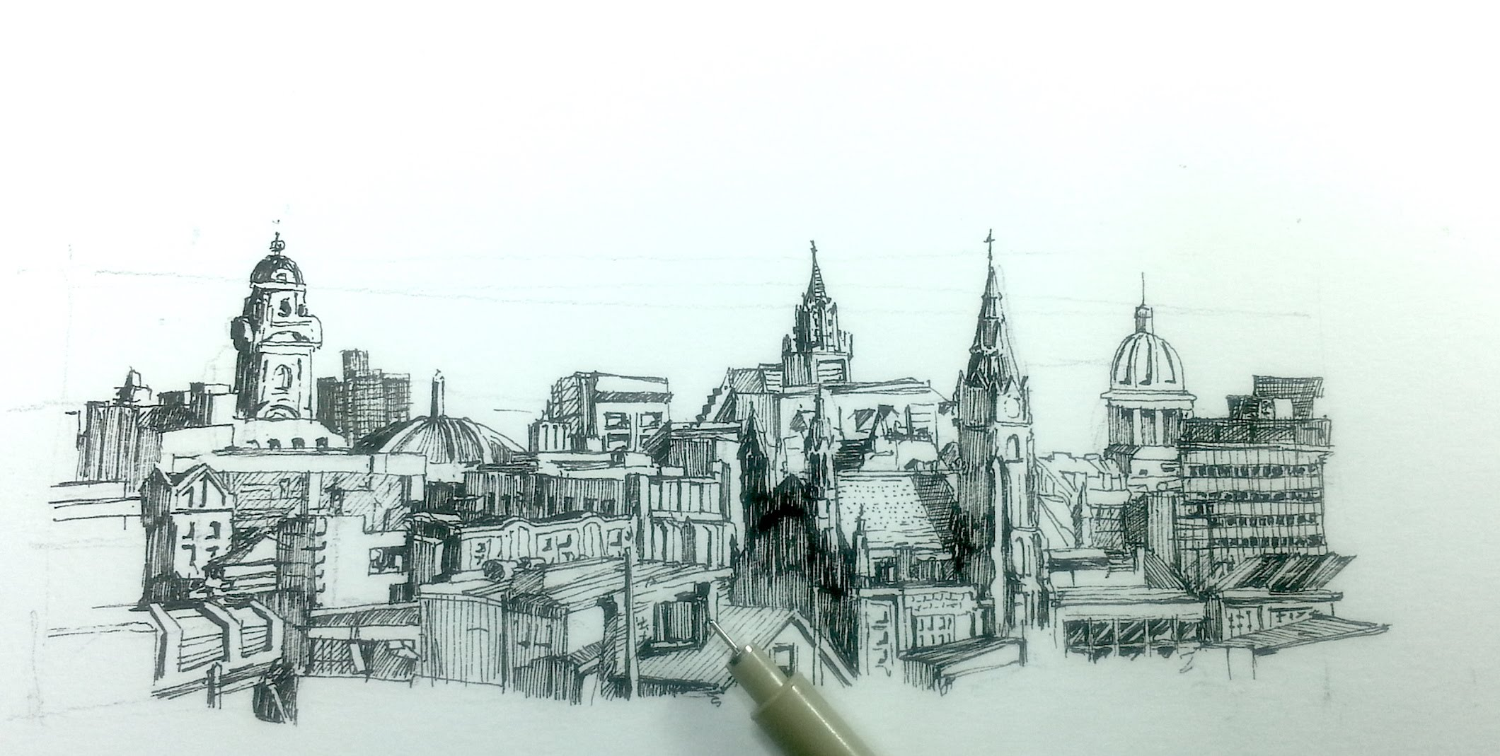 Drawn scenic cityscape Skyline buildings  city with