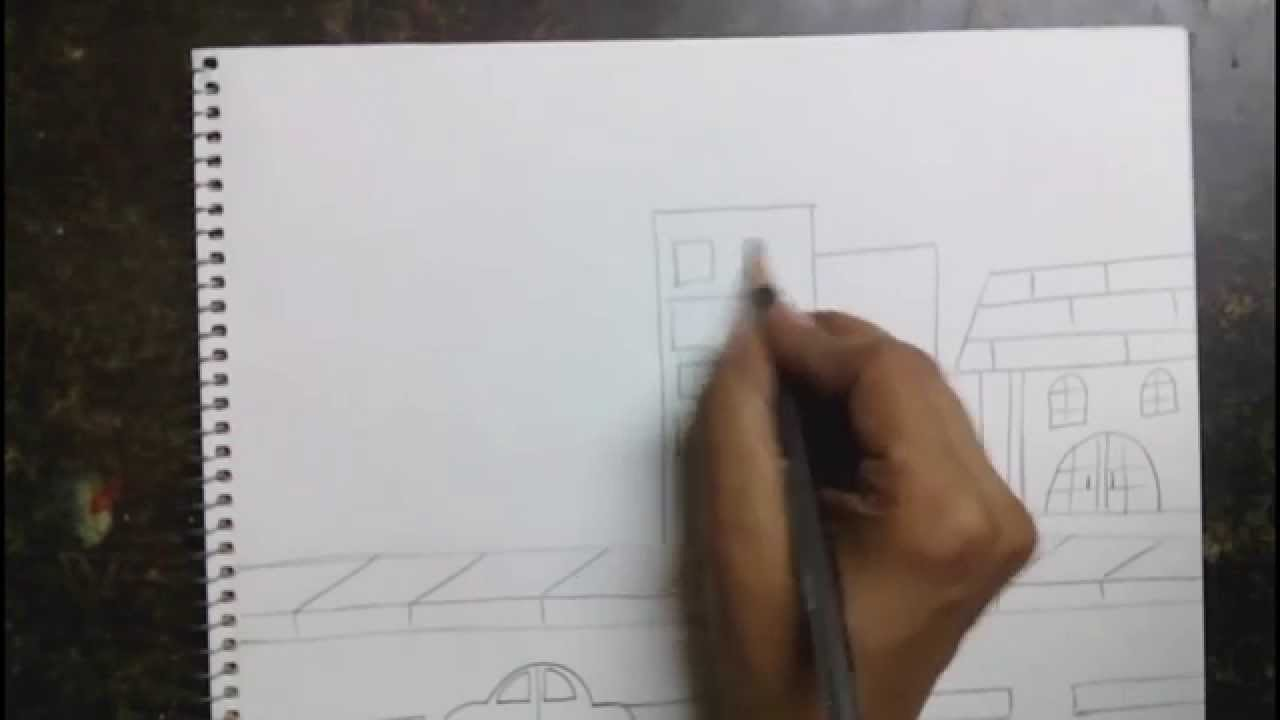 Drawn scenery city traffic City scene for draw YouTube