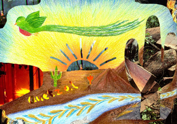 Drawn scenery collage work  collage deforestation