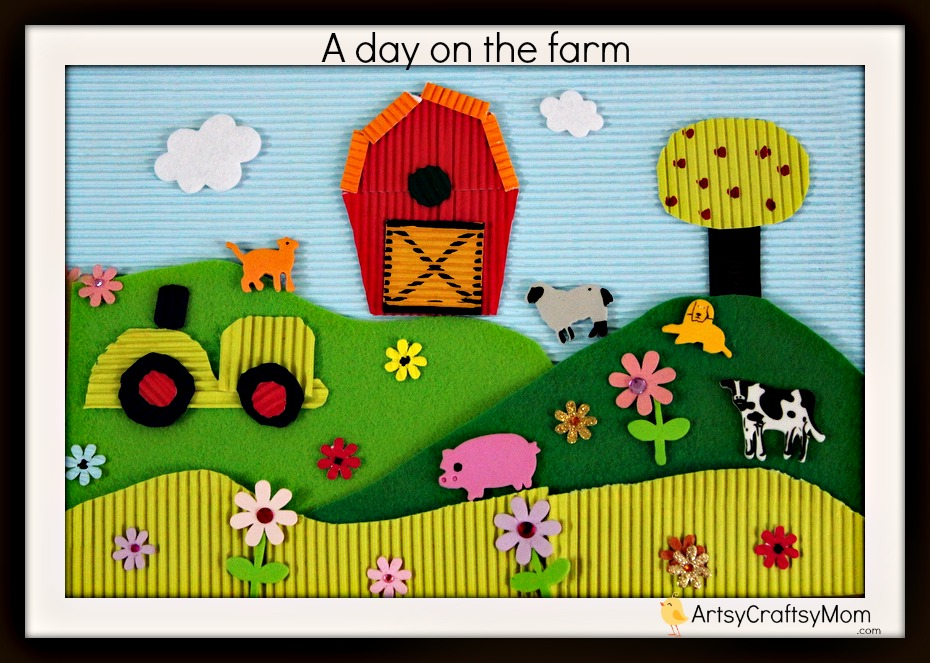 Drawn scenery collage work The  Craftsy Farm kids