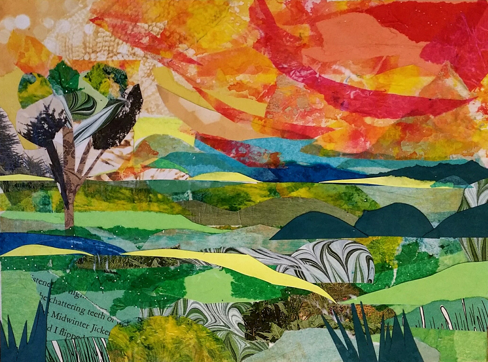 Drawn scenic collage work Making Landscape a YouTube Collage