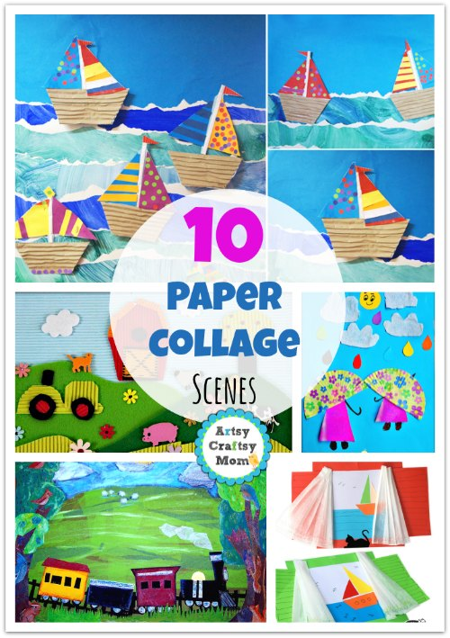 Drawn scenic collage work Ideas Ideas kids Art Collage