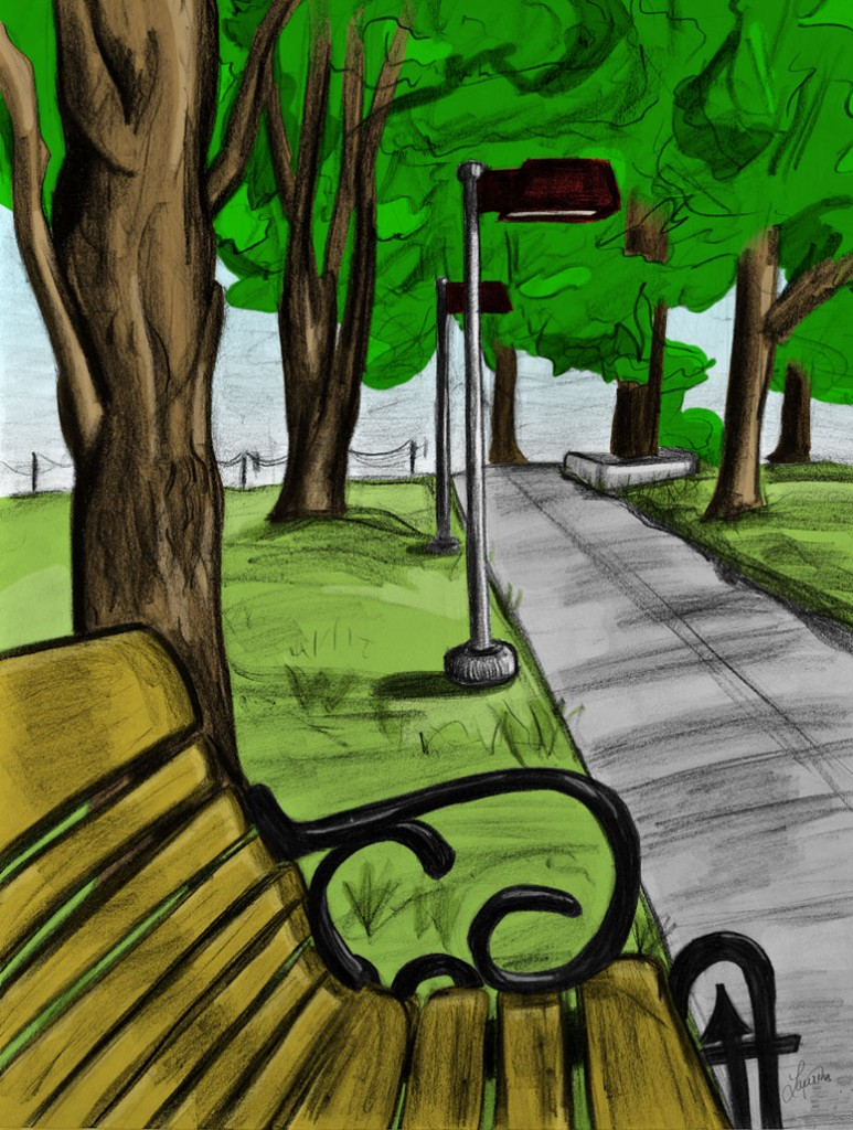 Drawn scenic color Drawing Park Drawn Drawing Park