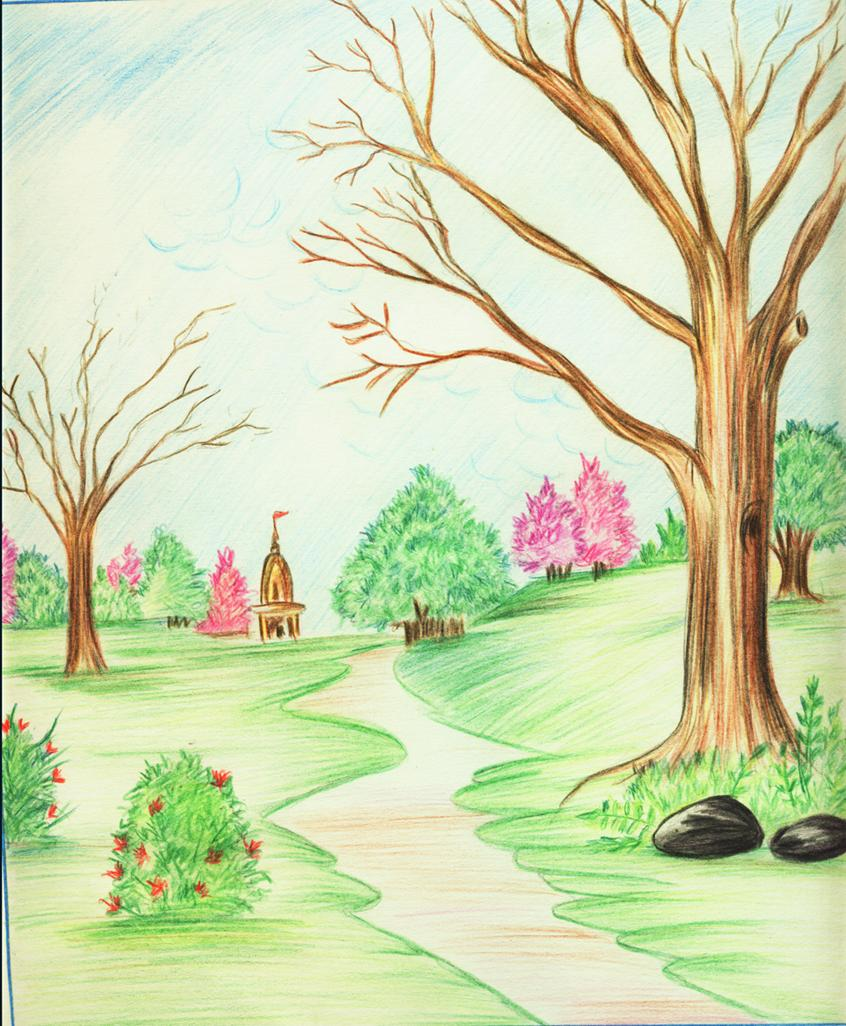 Drawn scenery colored pencil Shilpa84 pencil scenery color by