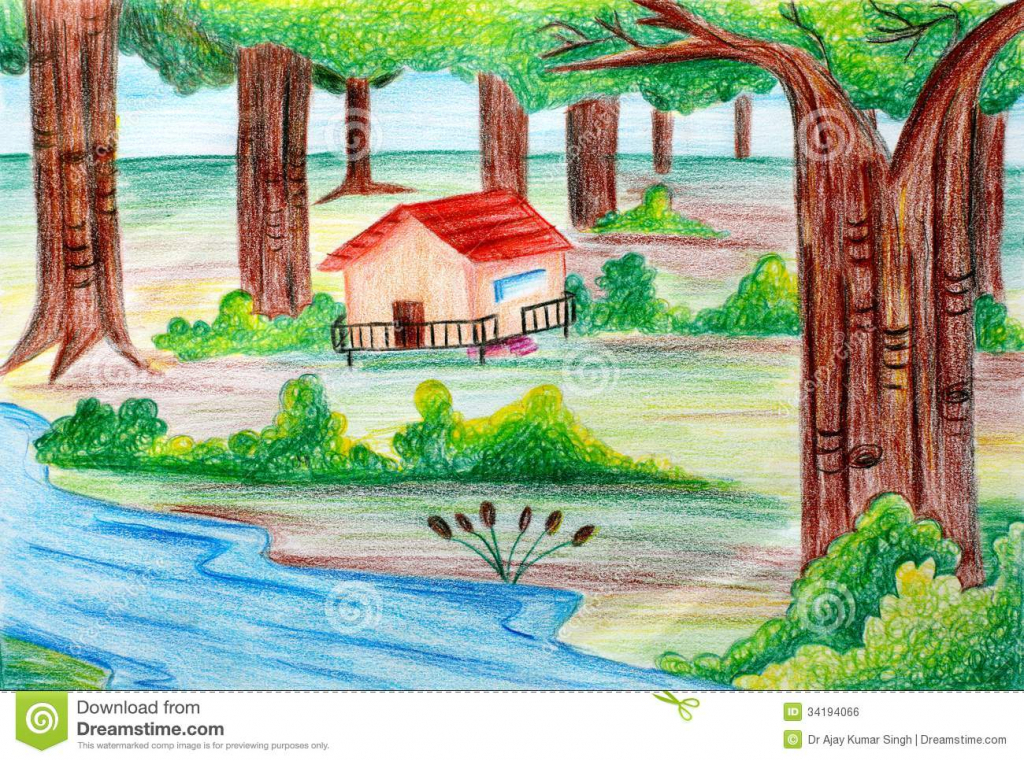 Drawn scenery colored pencil Drawing Scenery  Color Royalty