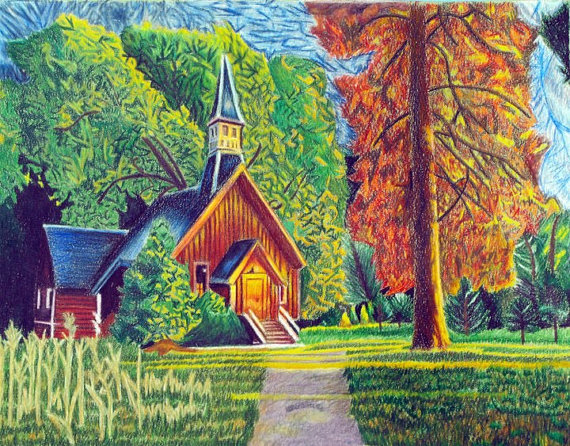 Drawn scenery colored pencil Pencils with Image for draw
