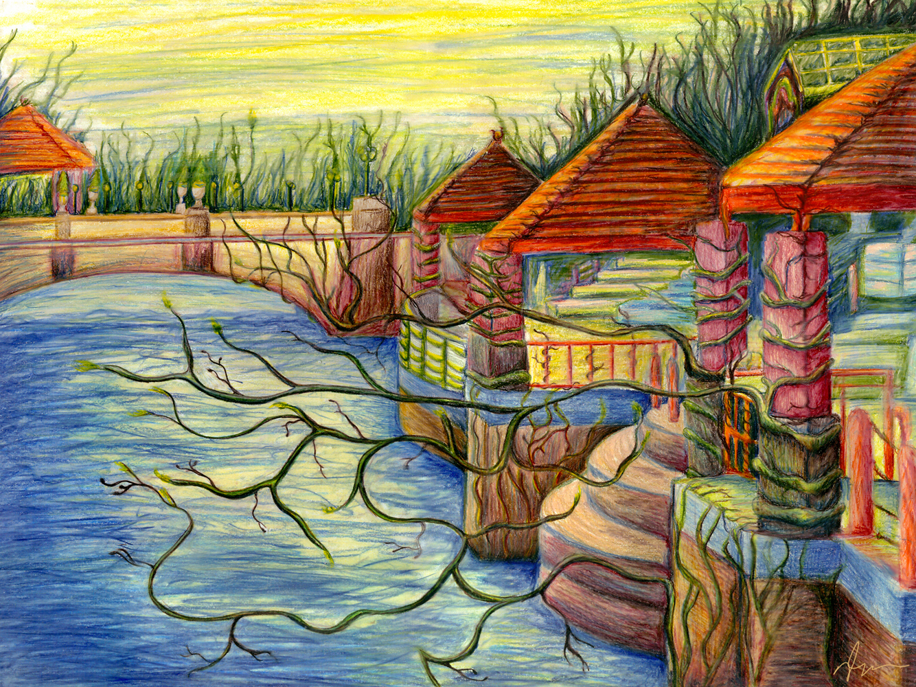 Drawn scenic colored pencil Cleary Nicole Cleary pencil Nicole