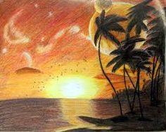 Drawn scenic colored pencil Colored draw Image for