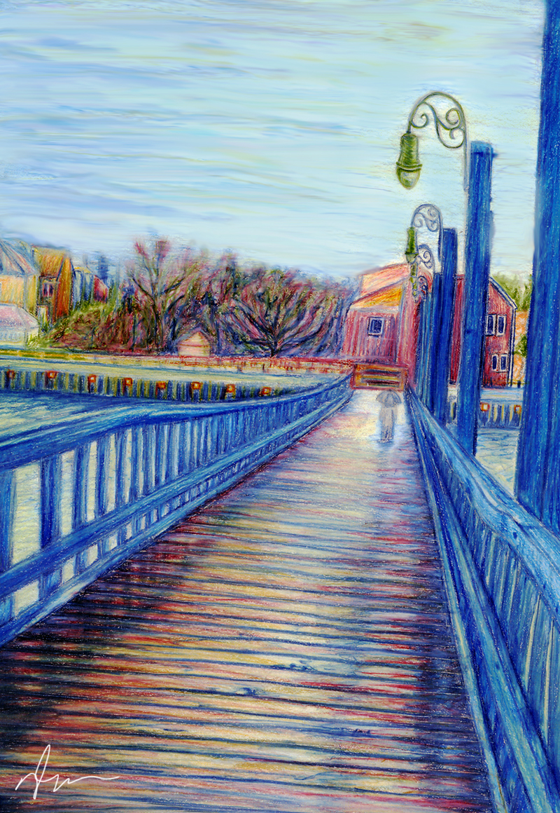 Drawn scenery colored pencil  To Past The Roots