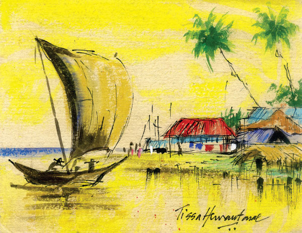 Drawn scenery boat Sundayobserver Learn draw lk: to