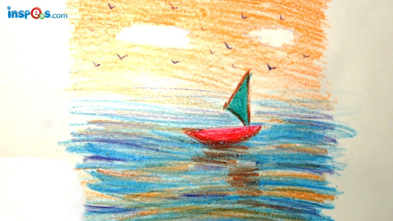 Drawn scenic crayon  Draw to Boat YouTube