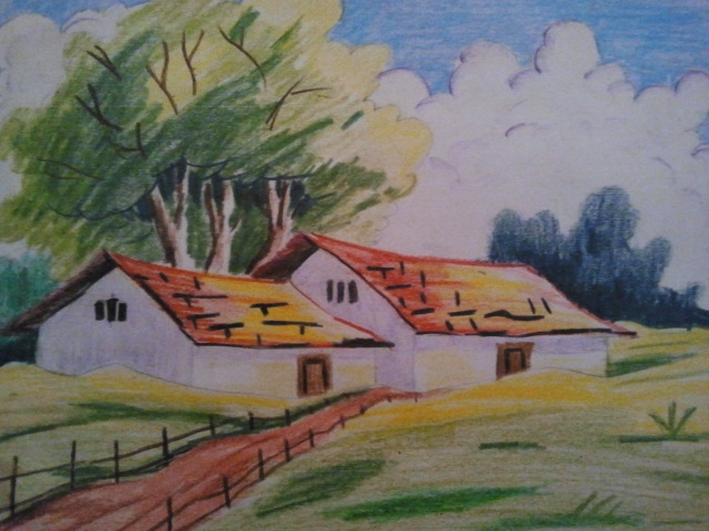 Drawn scenery colored pencil How Pencil nature Natural How