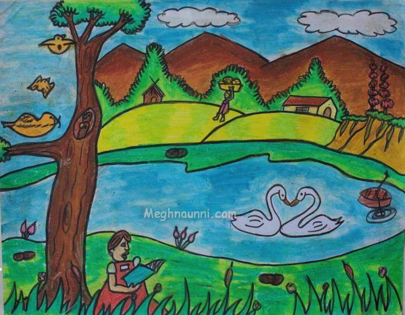 Drawn scenery for kid scenery Crayons drawing scenery Gallery contest