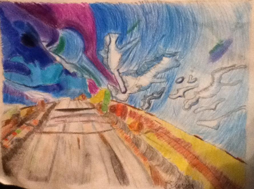 Drawn scenic crayon Pencil DeviantArt Guess? I by