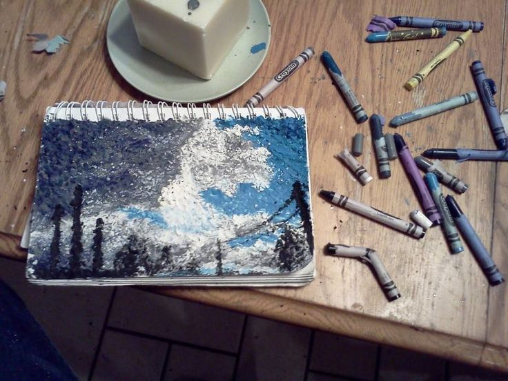 Drawn scenic crayon Melted on by Pinterest landscape