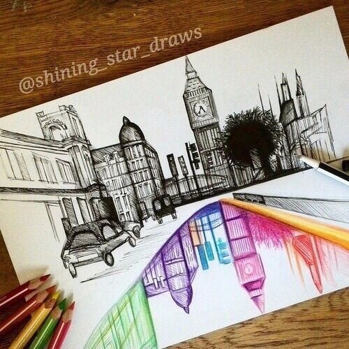 Drawn scenic creative On 25+ City drawing ideas