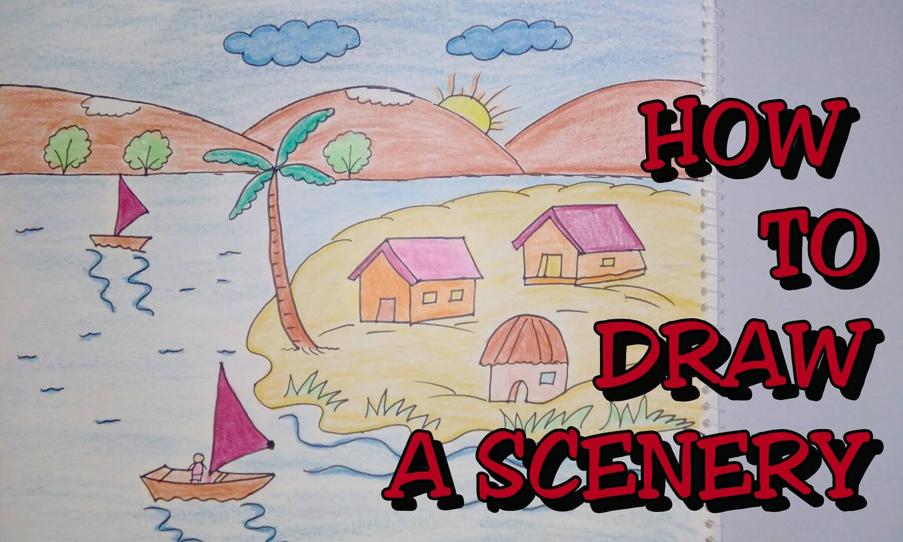 Drawn scenic creative Step how Drawing scenery drawing