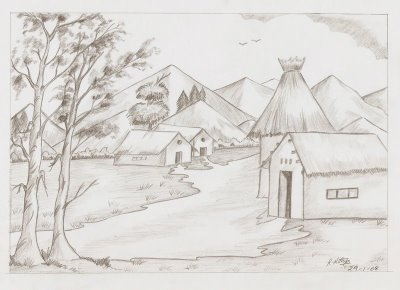 Drawn scenic easy To illustrations to  Pencil