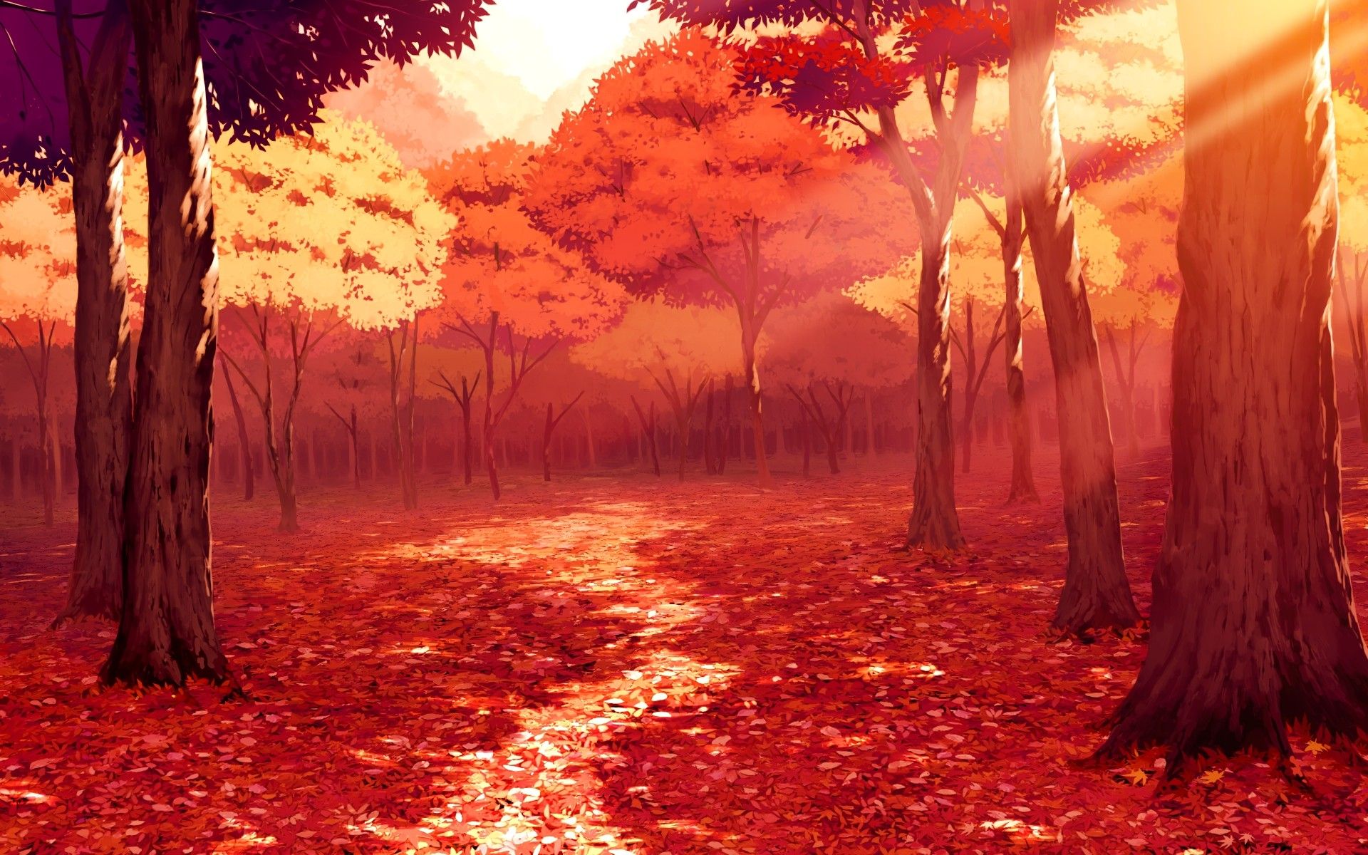 Drawn scenic emotional Anime  Wallpapers Art autumn