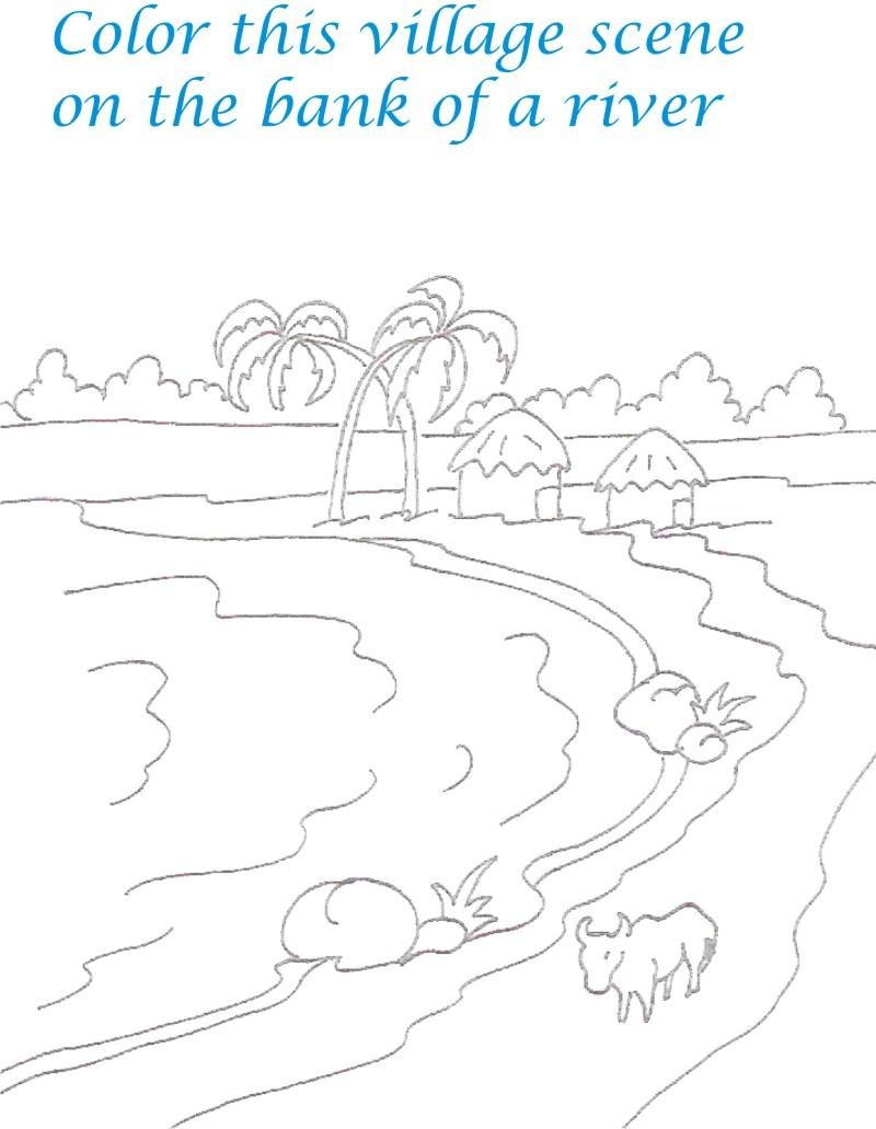 Drawn river coloring page Pages pages scenery Scenery coloring