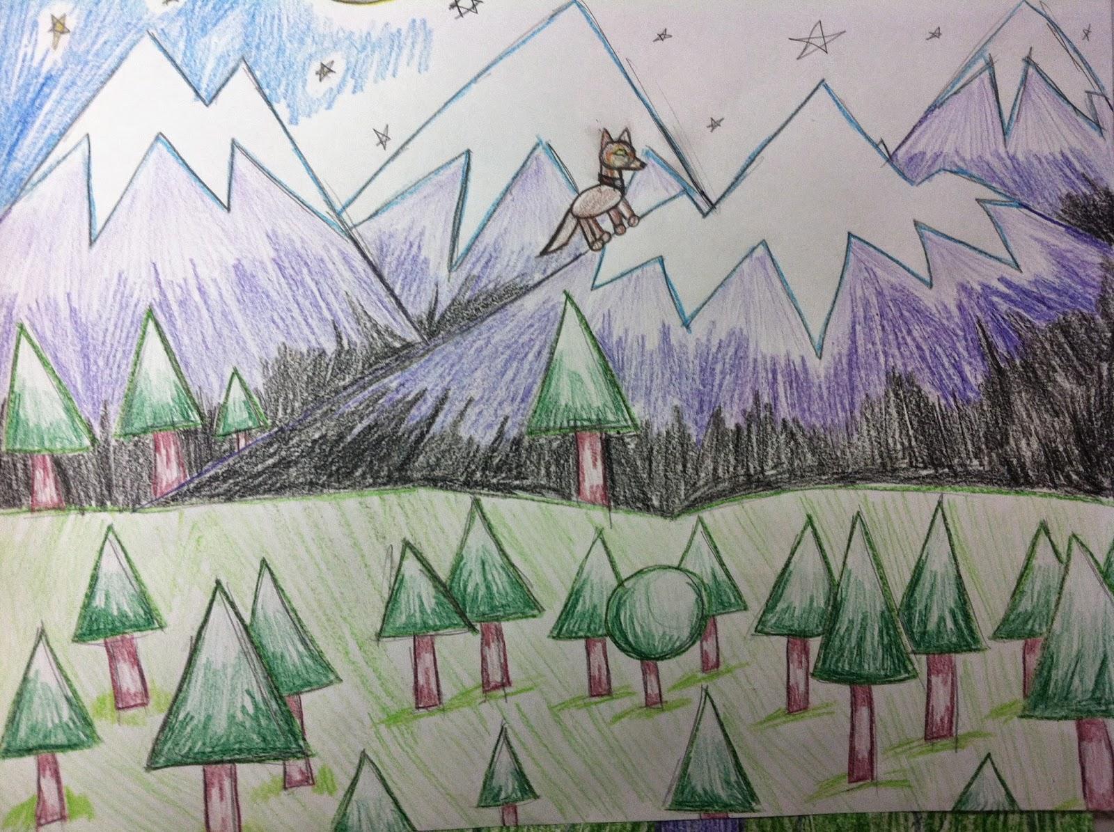 Drawn scenic geometrical shape Shapes Landscape Mrs using only