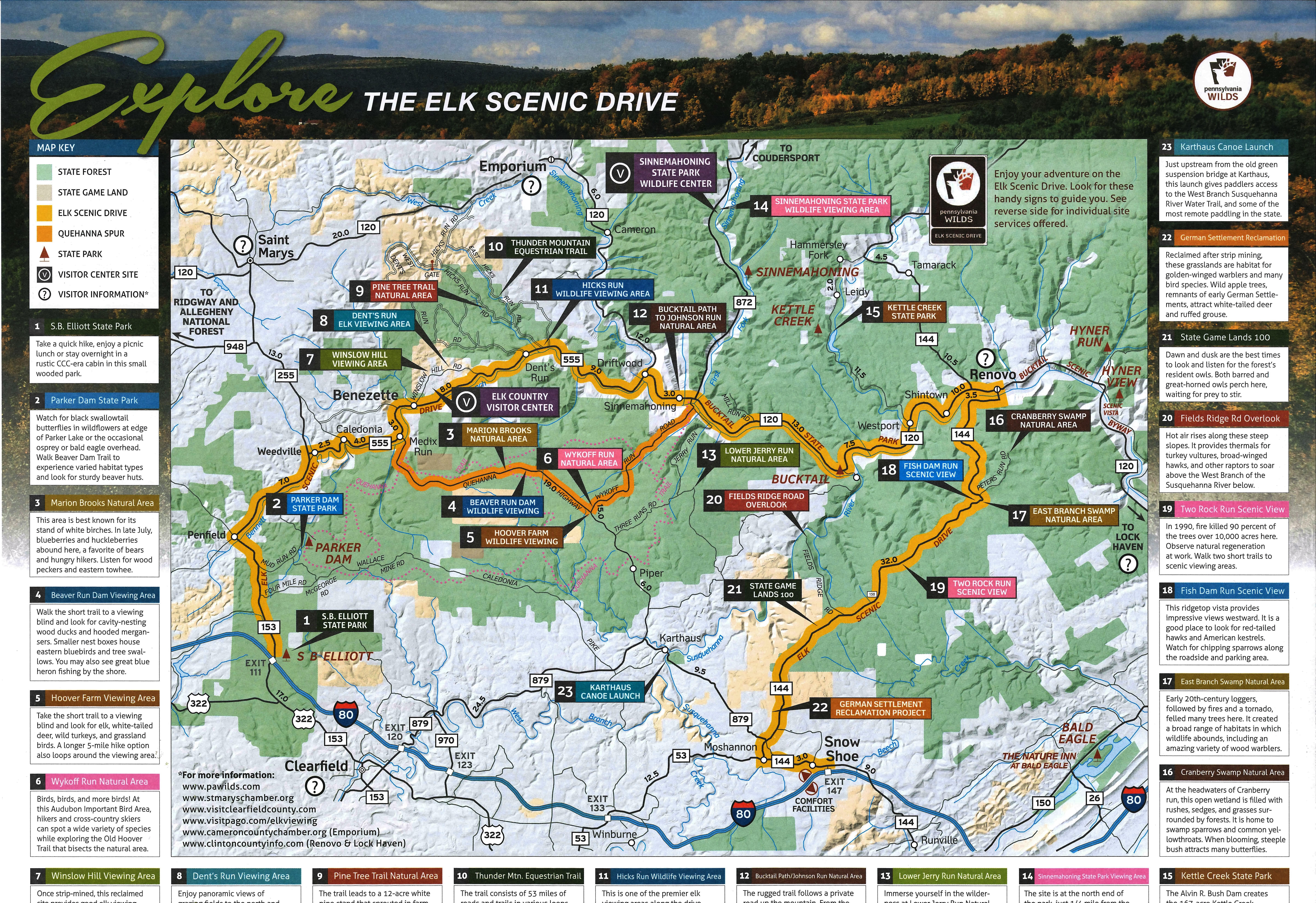 Drawn scenic go green Map Download Viewing Elk Elk