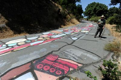 Drawn scenic graffiti Strait  the Carquinez bluffs