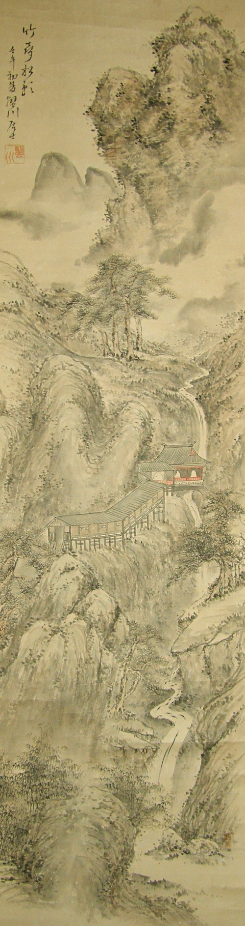 Drawn scenery japanese Ink Drawing Sansui Landscape Drawing