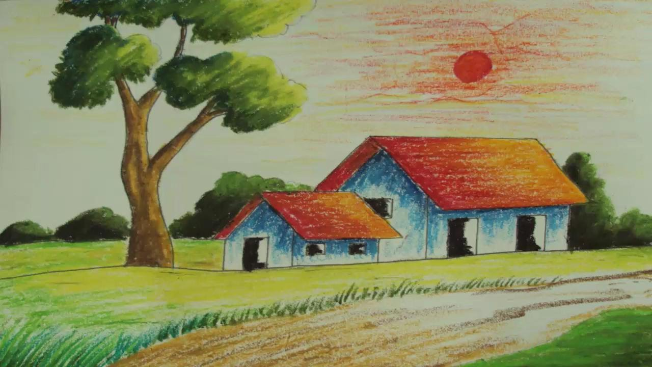 Drawn scenery simple Painting simple Pastel 5 a