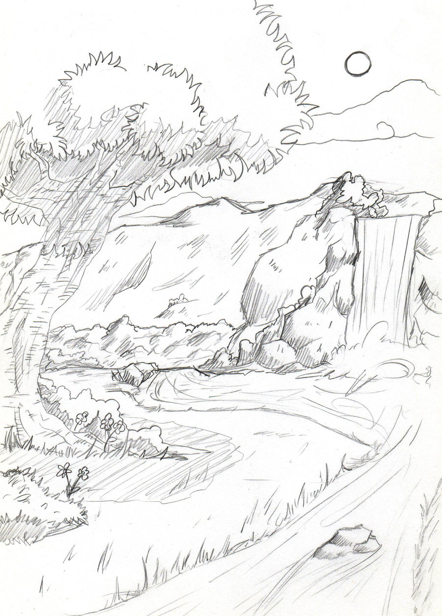 Drawn scenic line drawing Scenic by view view view