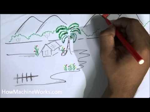 Drawn scenery scene Draw minutes How 2 How