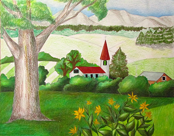 Drawn scenery morning Pencil Drawing Landscape Art Color