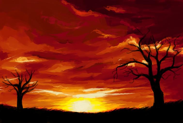 Drawn scenery ms paint Burning [300] Leonidas DibujosDeGerardoGC by