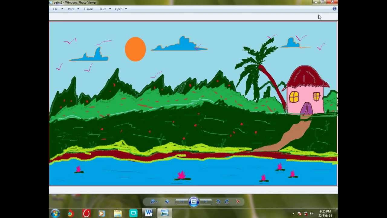 Drawn scenery ms paint To Paint using 7 windows