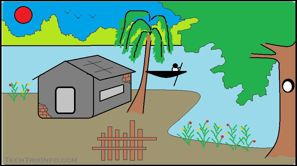 Drawn scenic ms paint Draw scenery house ethans draw
