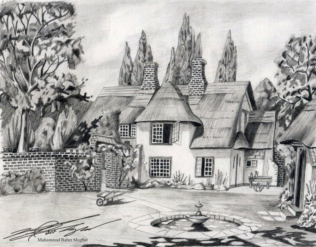 Drawn scenery vintage Pencil Scenery Sketches and sketches