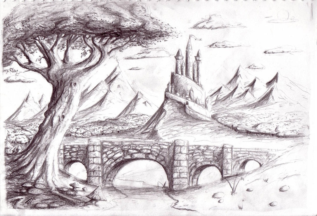 Drawn scenic natural scenery Pencil Of Images Drawings Nature