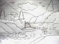 Drawn scenery boat Village  jpg drawings village