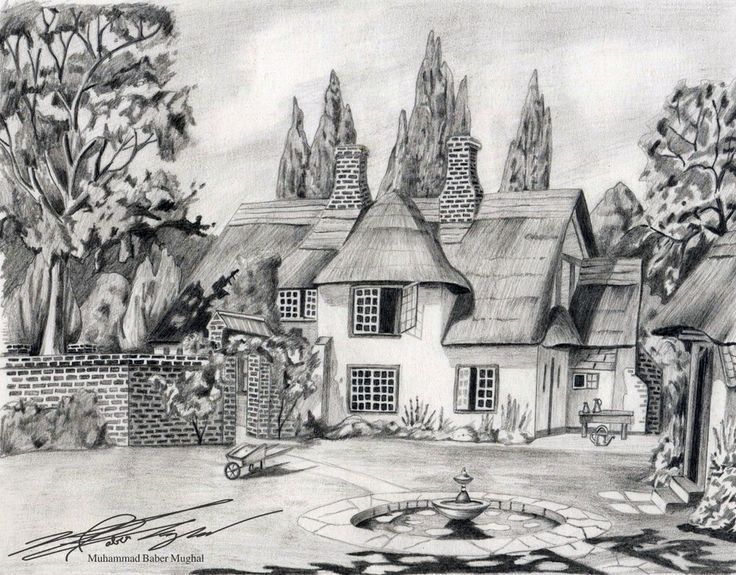 Drawn scenic nature Sketches and Blanks house house