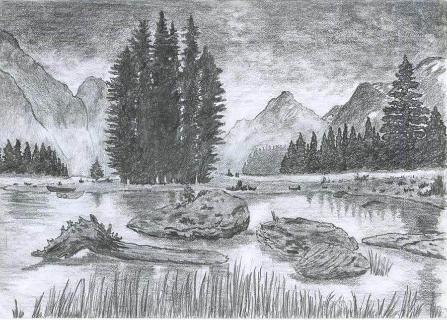 Drawn scenic nature Scenery kb drawing Of Nnature