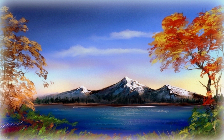 Drawn scenic nice scenery Mountains Lake✫ digital nature made