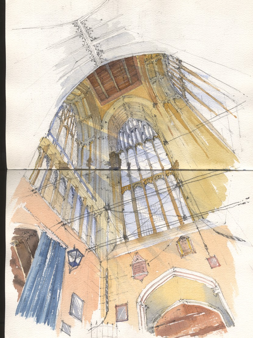 Drawn scenic norfolk Abbey at Tower up View