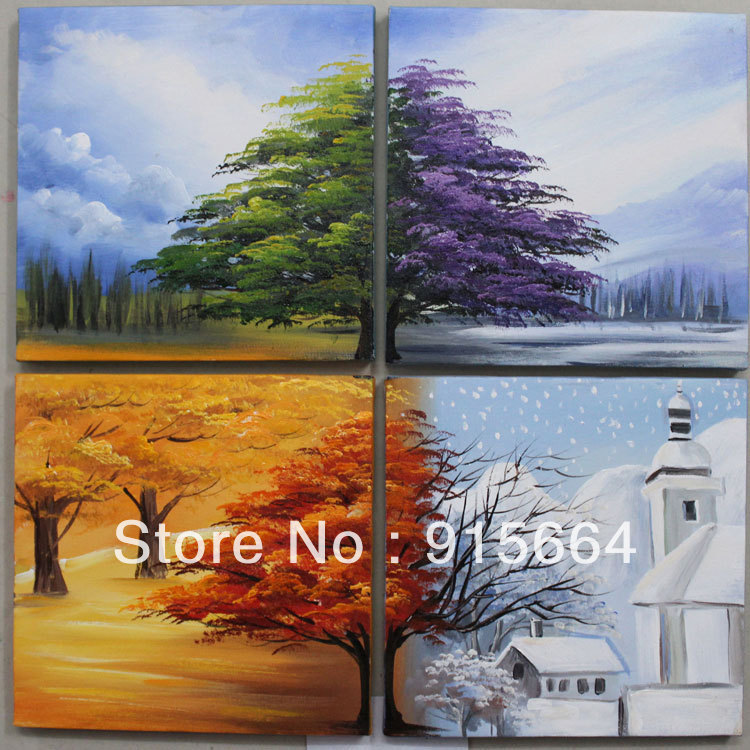 Drawn scenic oil painting Handmade Hanging 4Panels Wall Art